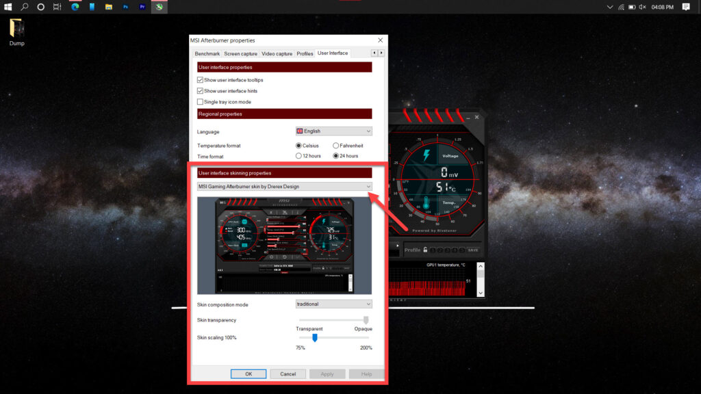 How to change skins in MSI Afterburner?   Candid.Technology