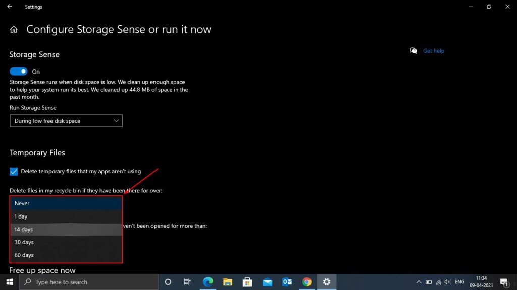 How to automatically delete files from recycle bin in Windows 10?