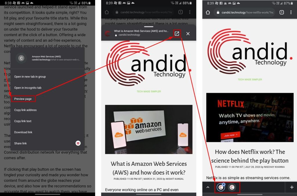 How to preview pages on Chrome for Android?