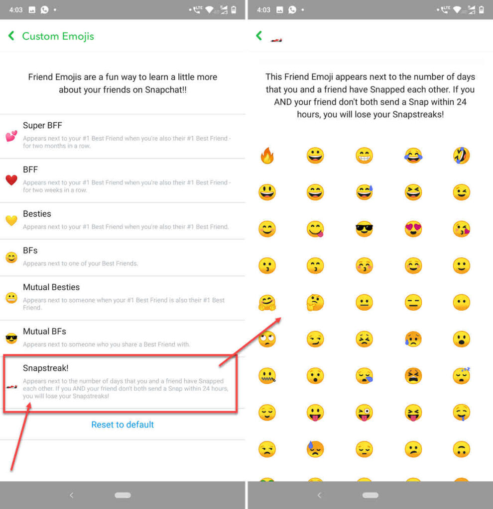 How to change streak emoji in Snapchat?