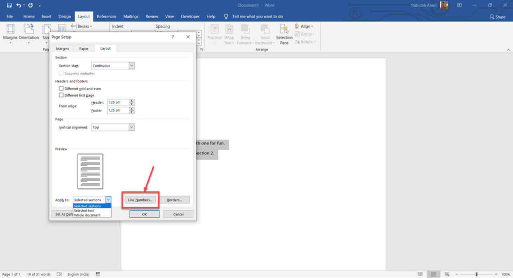 How to add line numbers in Word?