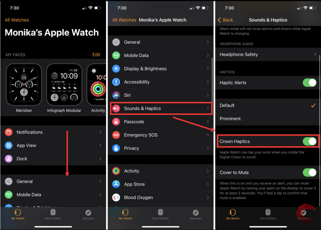 How to turn off digital crown on Apple Watch?