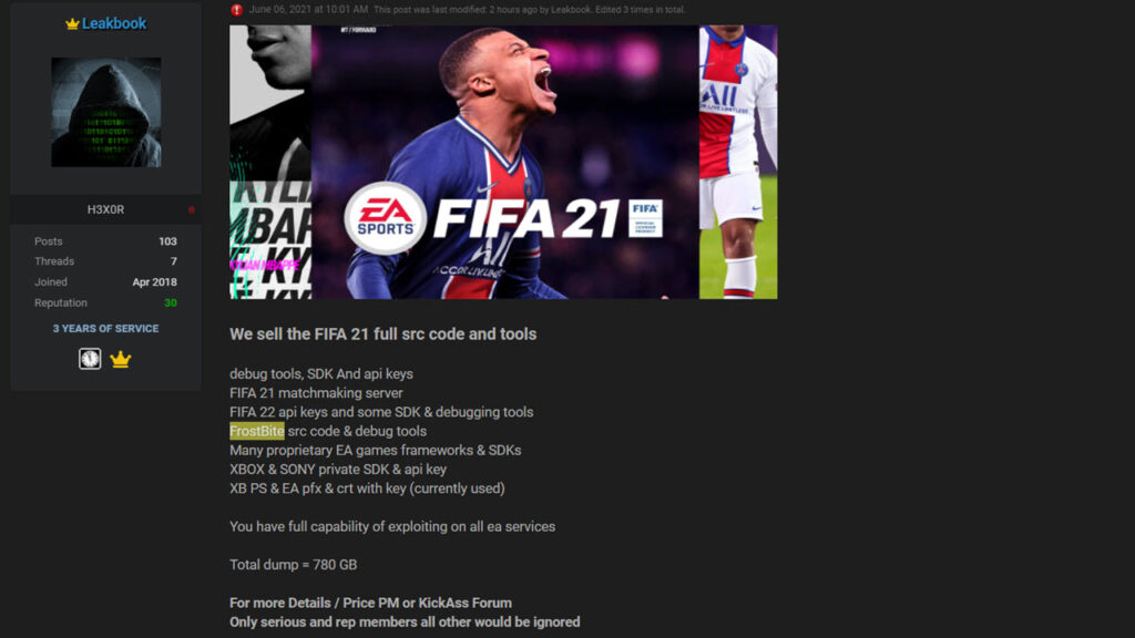 780GB EA data is on sale; EA confirms network was breached