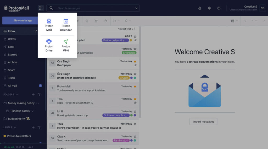 ProtonMail redesigns its web platform: Themes, shortcuts, filters and more