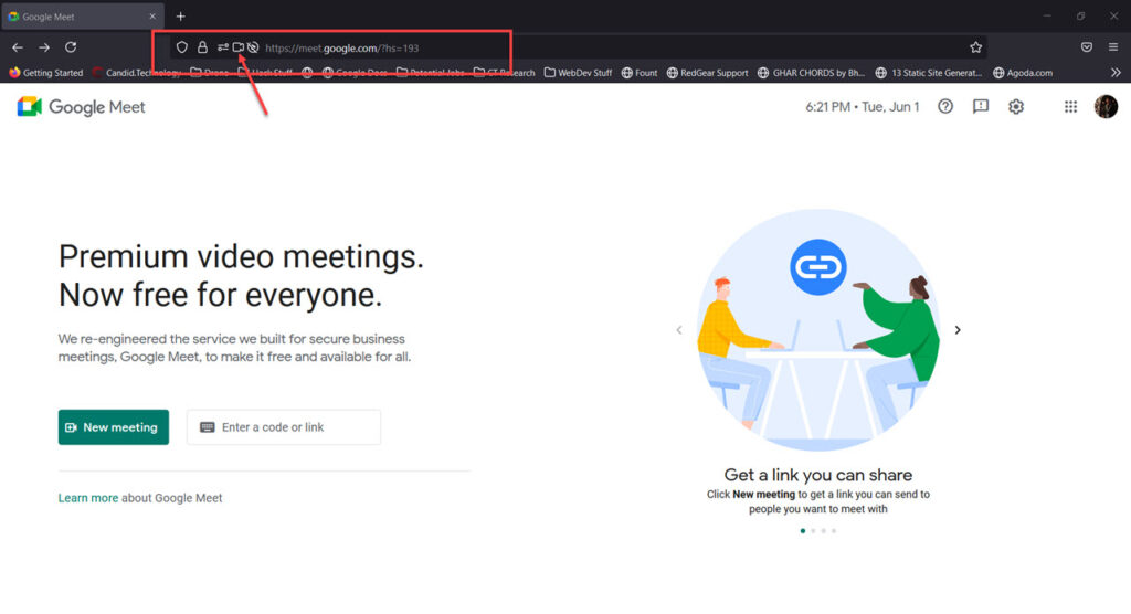 How to fix 'Google Meet camera failed' issue?