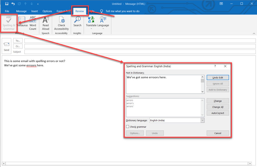 Outlook spellcheck not working: 6  Fixes | Candid.Technology