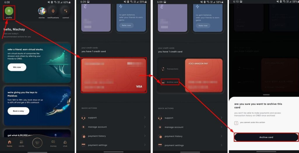 How to remove a card from Cred? | Candid.Technology